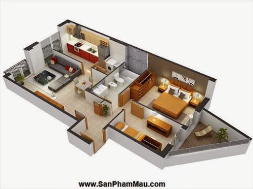 Phương án thiết kế mặt bằng có 2 phòng ngủ đẹp - Tủ âm tường-9