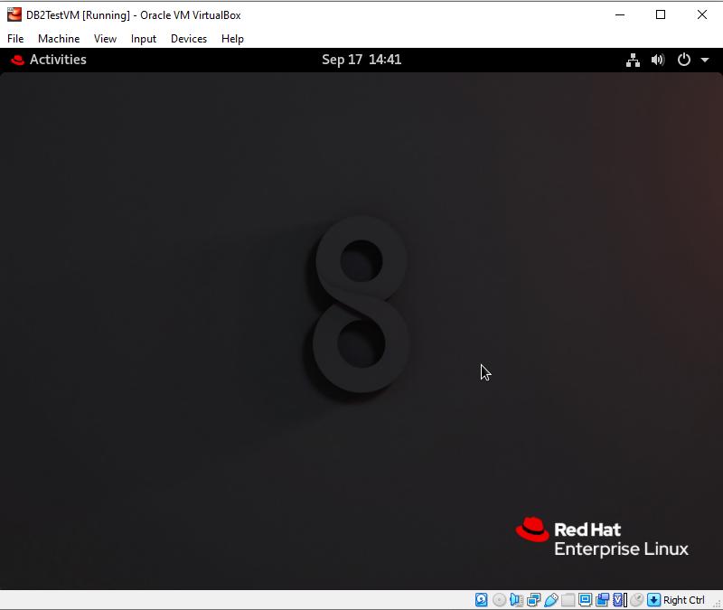 RHEL 8.2 Home Screen