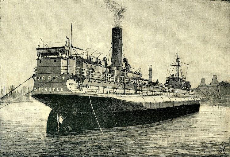 Vista de popa del TURRET. Grabado de la REVISTA DE NAVEGACION Y COMERCIO. Año 1893.jpg