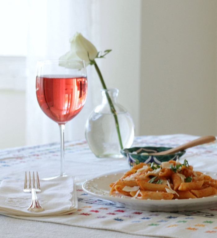 Easy Pasta with Pink Sauce Fresh Herbs