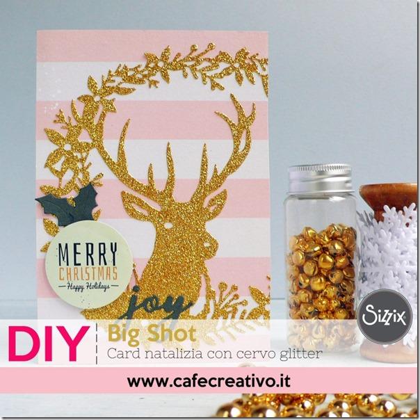 Card natalizia con cervo glitter