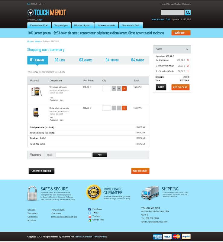 Cart Page -Mobile Prestashop Template