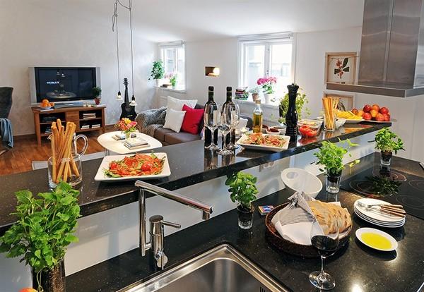 Trang trí nhà bếp đẹp với chậu cây nhỏ nhắn
