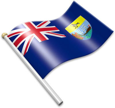 The Saint Helenian flag on a flagpole clipart image