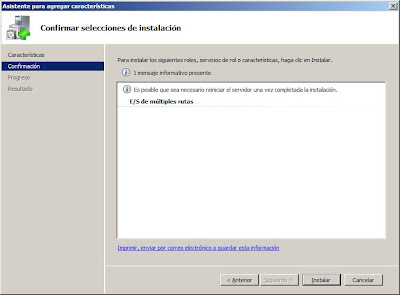 Agregar característica en Windows Server 2008: E/S de múltiples rutas