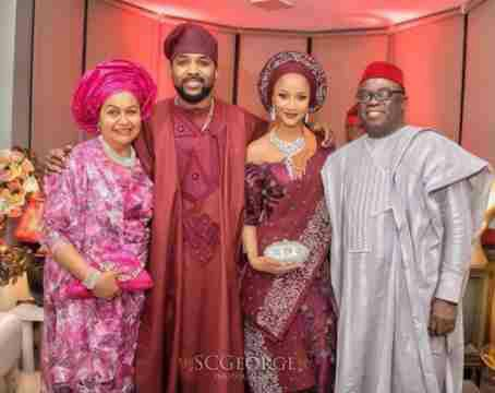 Cute Photo Of Banky W And Adesua Etomi With His Parents At Their Marriage Introduction
