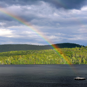 Summer In Vermont by Jim O'Neill - Landscapes Waterscapes ( lakes, summer, lake fairlee, storms, vermont, rainbow, thetford )