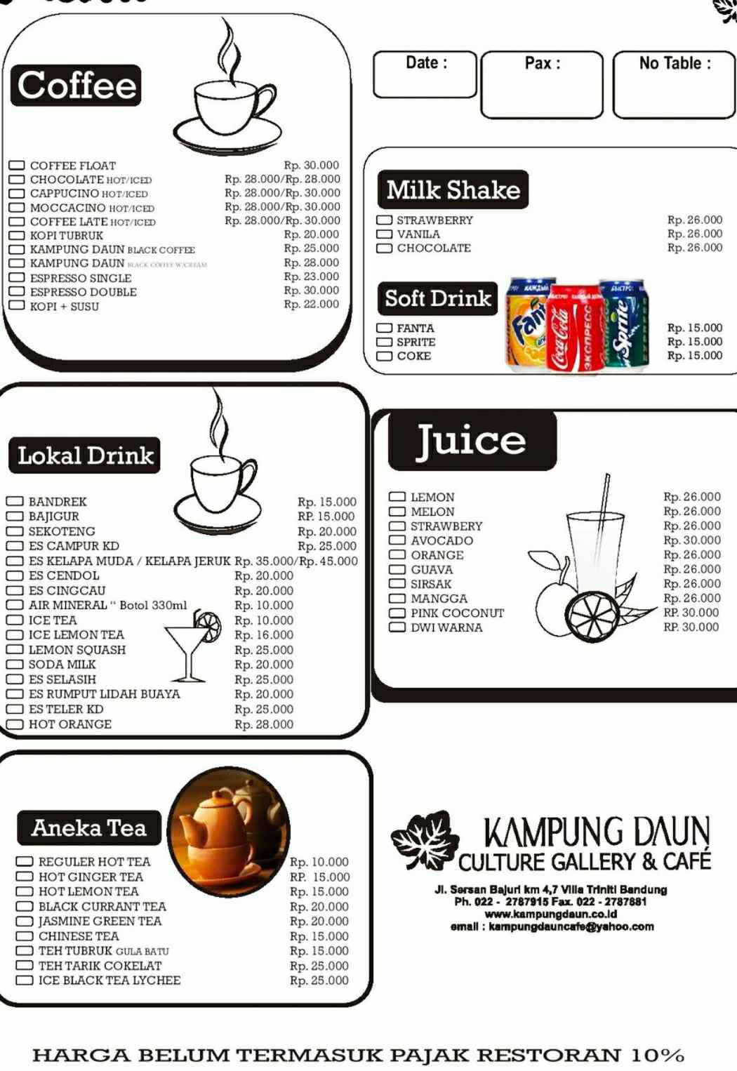 menu minuman kampung daun bandung
