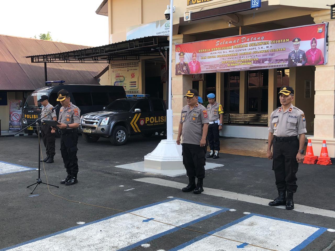 Kabag Sumda Polres Soppeng Pimpin Apel Pagi dan Senam AWS3