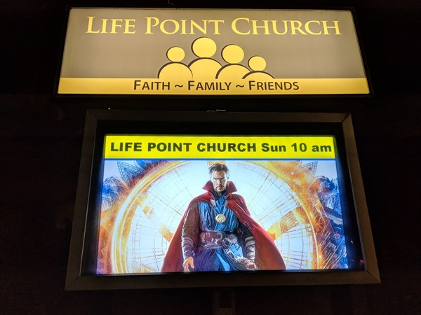 Life Point Durham Church Network sign promoting Doctor Strange