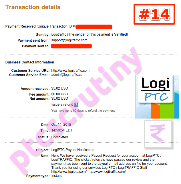 LogiPTC payment proof
