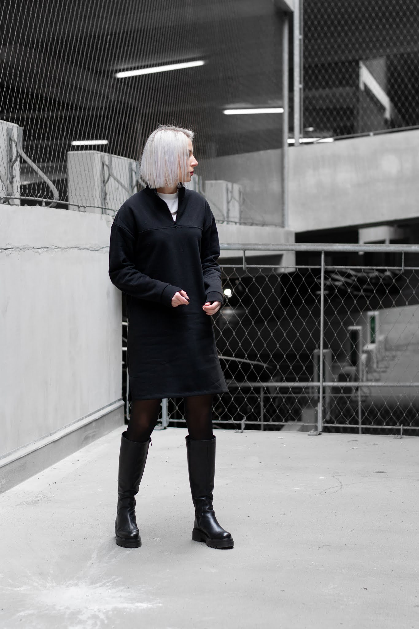 My jewellery, sweater dress, sacha shoes, boots, falke tights, all black, minimal