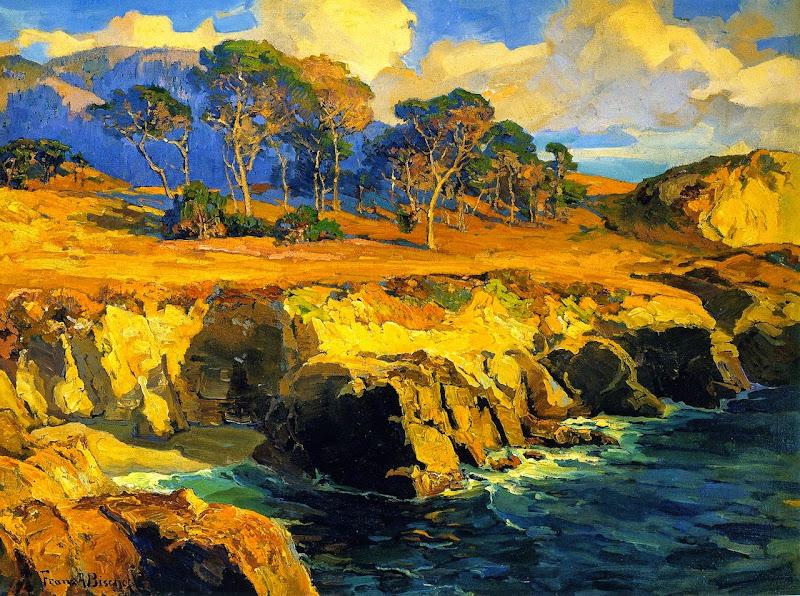 Franz Bischoff - Gold-Rimmed Rocks and Sea