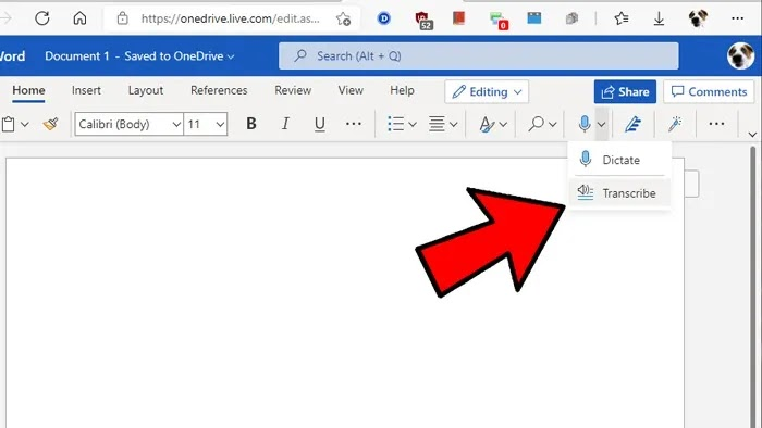 تحويل الصوت إلى نص Windows Word Transcribe