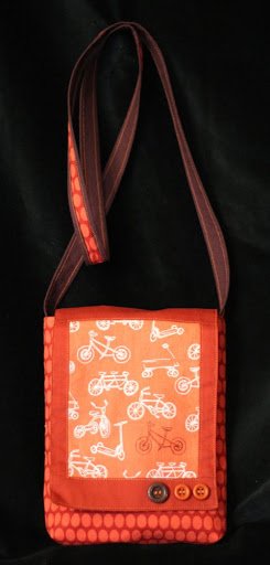 a bag with bicycles on it