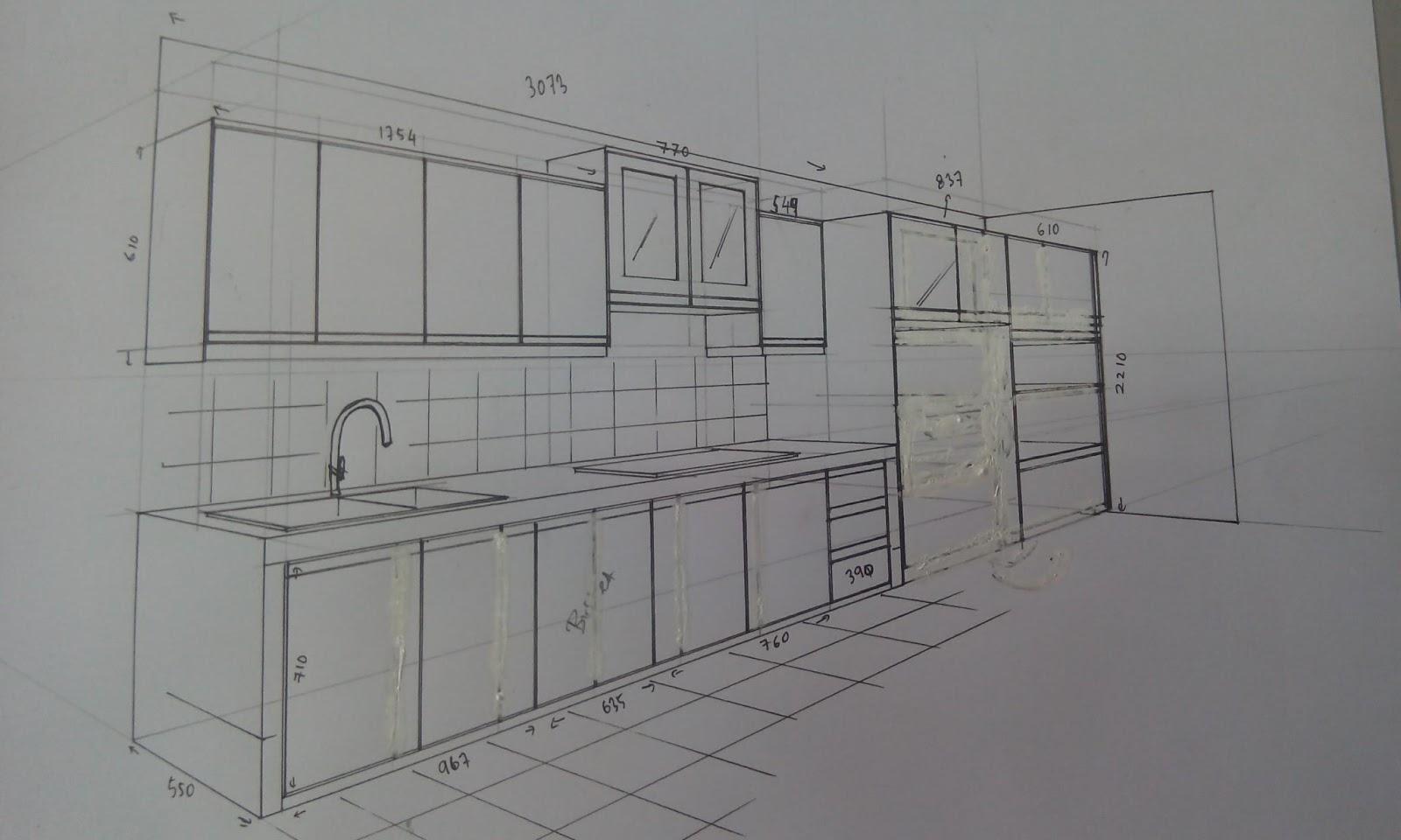 Ni Drawing Atau Lakaran Kabinet Dapur Rumah Kak Ana