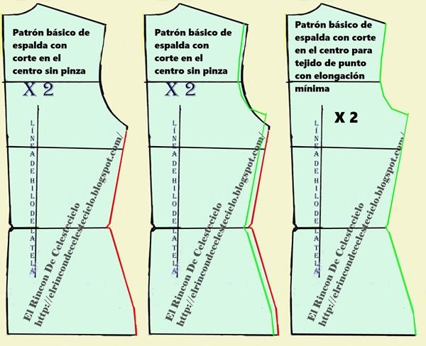 Transformación de patrón espalda con corte en centro para tejido de punto con elasticidad mínima