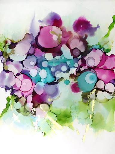 Flowers for Mom #1 19x12 - Japanese Ink on Yupo paper.  Artist Manny Martins-Karman