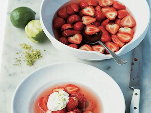 Rosé syllabub and sugared strawberries