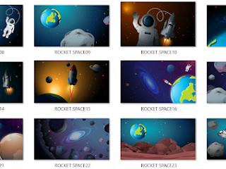 Muat Turun Background Resolusi Tinggi (HD) : Tema Angkasa Lepas, Angkasawan, Roket
