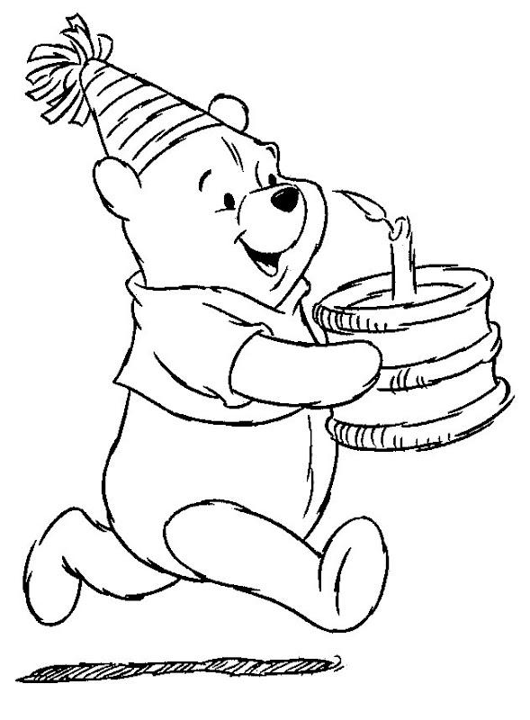 Pinto Dibujos: Winnie Pooh con pastel para colorear