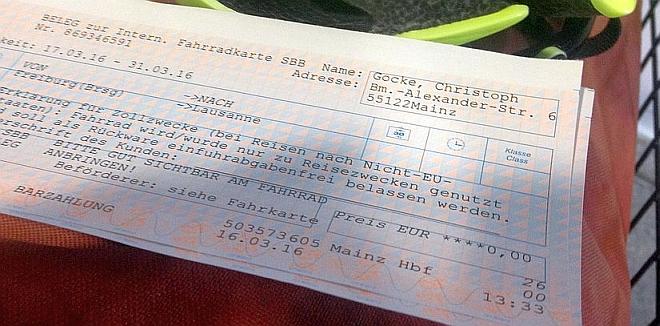 Deutsche Bahn: Beleg zur Internationalen Fahrradkarte