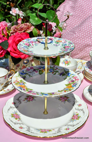 Summer Days 3 Tier Mismatched China Cake Stand