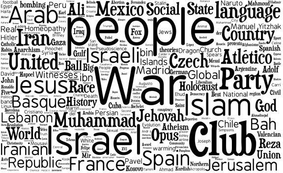 Tag cloud mundial de temas controvertidos de la Wikipedia