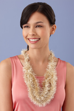 Loopy necklace using Glitter Eyelash yarn: http://marthastewart.lionbrand.com/patterns/L10176.html