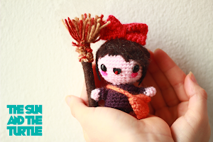Amigurumi Kiki from Kiki's Delivery Service. A studio Ghibli animation.