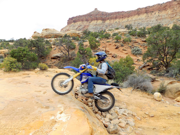 Lyman rallying the ledges at Teapot Canyon