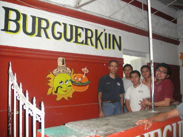 I traveled the 3.5 hours from Mérida with four Bible School students (from left to right) Carlos, Roberto, Gamaliel, and Efren. We stopped at Burguer Kíin on the way home, this the Chemax's answer to Burger King.