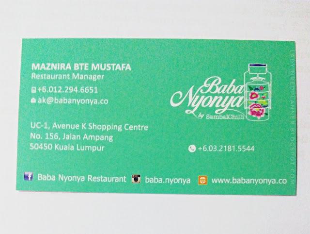 Baba Nyonya Restaurant Avenue K