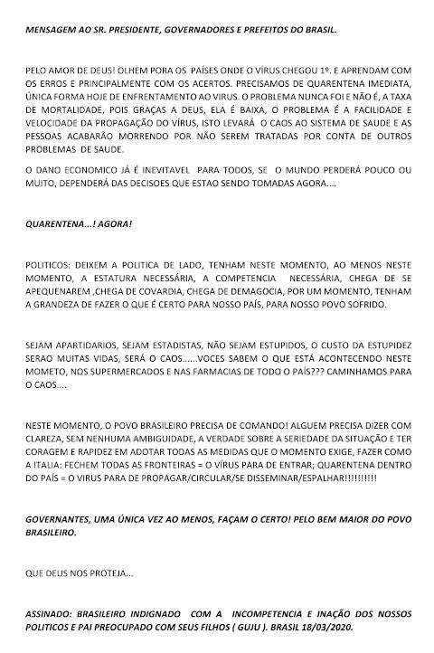 Coronavírus: Carta de um Brasileiro Indignado