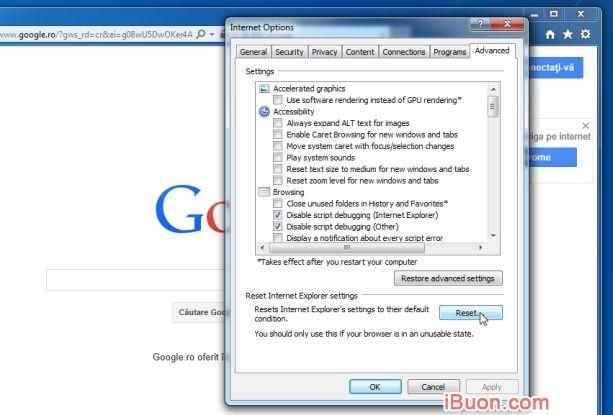 Ảnh mô phỏngGỡ bỏ hoàn toàn WebSearch Toolbar và WebSearch.com - Reset-Internet-Explorer