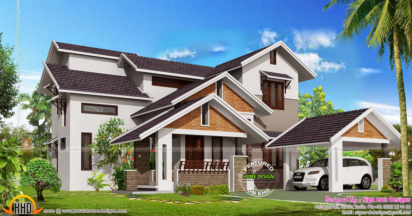 November 2014 kerala home design and floor plans for Sloped roof house plans in india
