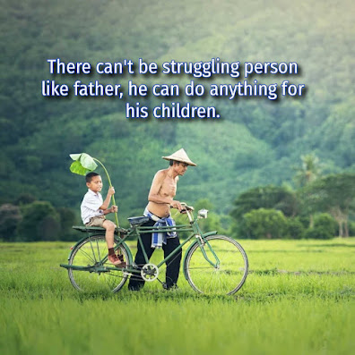 Father carrying boy on his cycle, Father's day message.