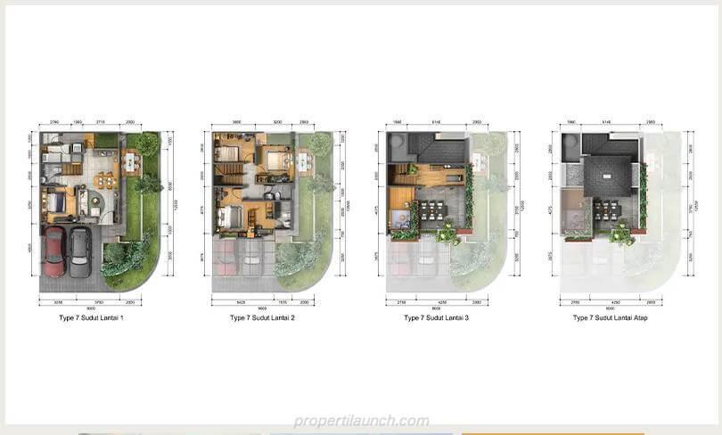 Denah Rumah Heritage Residence Puri 11 Tipe 7 Sudut