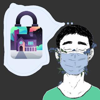 Illustrasi Lockdown saat pandemi dengan seorang anak memakai masker