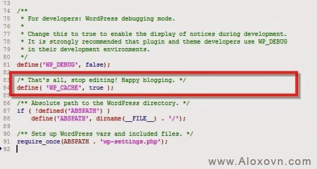 Cấu hình file config wordpress