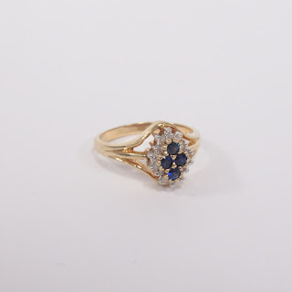 14K Gold, Diamond, and Sapphire Ring