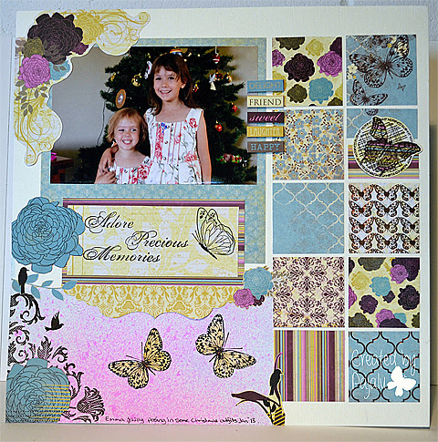 Adore Precious Memories Scrapbook Layout by Paula Laird and used with permission.