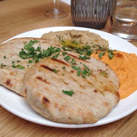 Rose harrisa hoummus, smokey babaganoush and chargrilled flatbread from Mildred's vegetarian restaurant in Soho