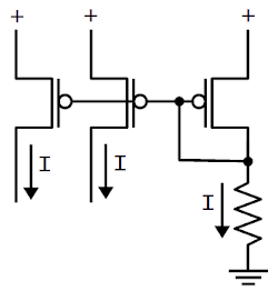 A current mirror formed from PMOS transistors. The left two currents mirror the current on the right, which is controlled by the resistor.