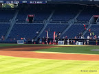 Blurry finish line from the outfield.
