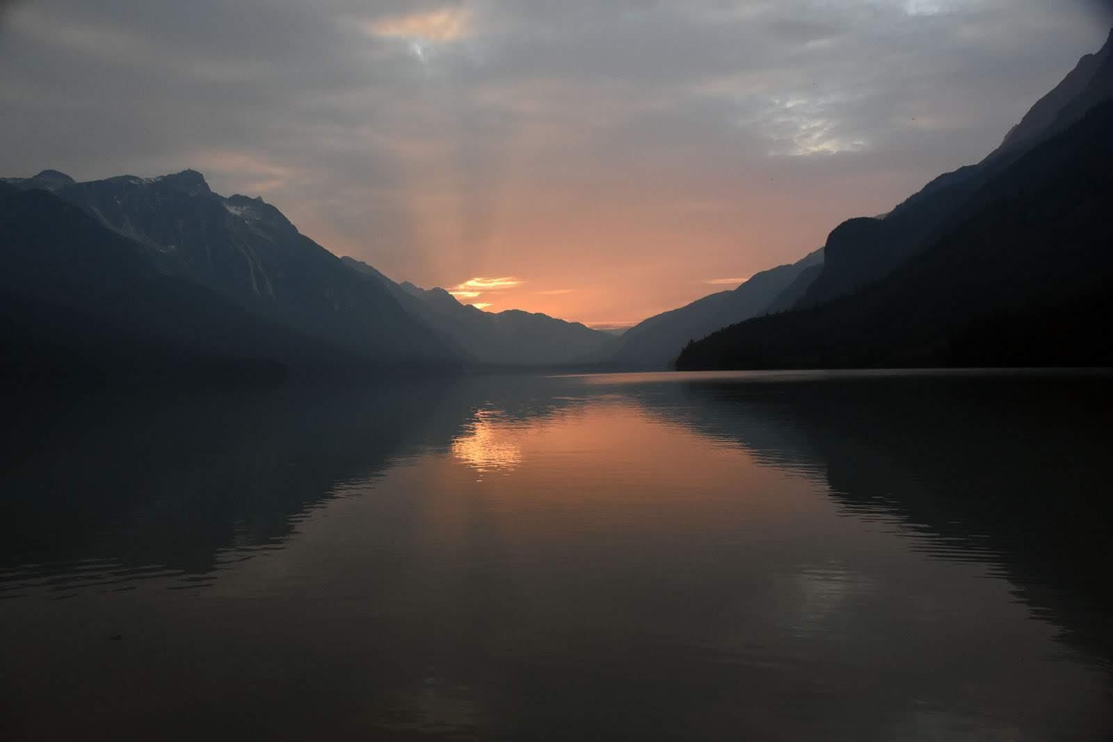 Coucher de soleil sur le lac Chilkoot