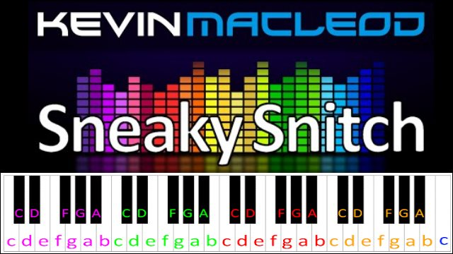 Sneaky Snitch by Kevin MacLeod ~ Piano Letter Notes