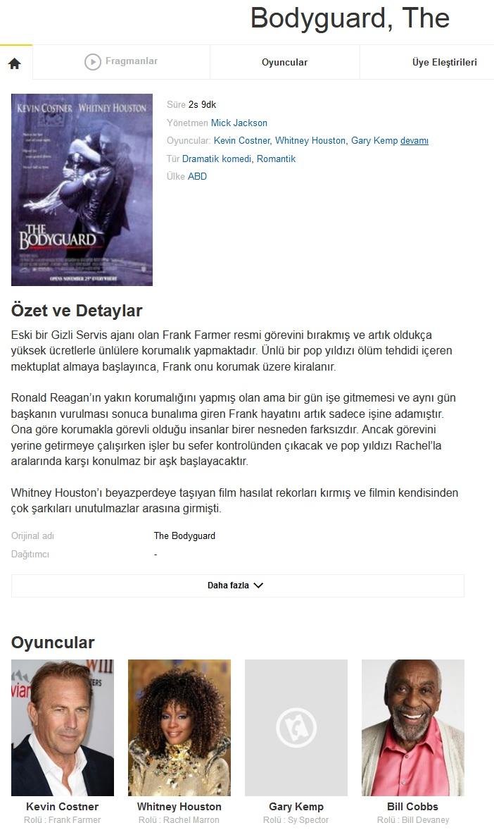 The Bodyguard 1992 - BDRip XviD - Türkçe Dublaj Tek Link indir