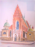 Kościół dominikanów w Krakowie, kredka, karton, 26x30cm