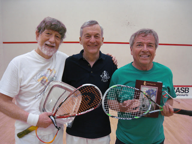 2012 Mature Event, Men's 70+: Bob Eather (winner), Lew Holmes (tourney chair), and Mike Keating (runner up)